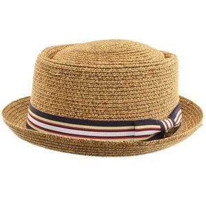 Other - Men's Natural Brown Ribbon Brim Hat